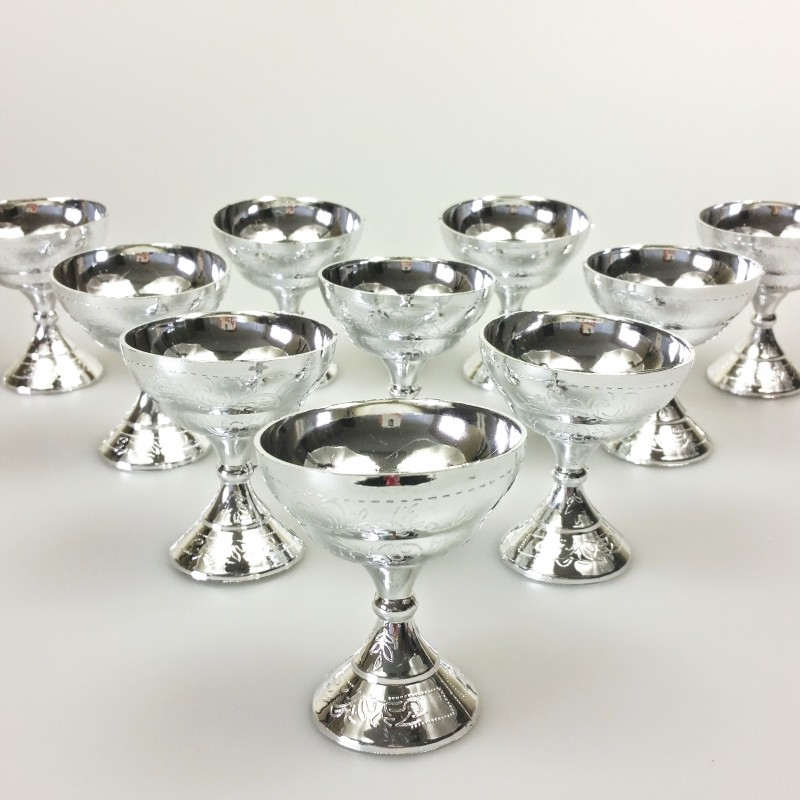 Coupelles communion x10 argent - Decoration de table pour communion garcon ...