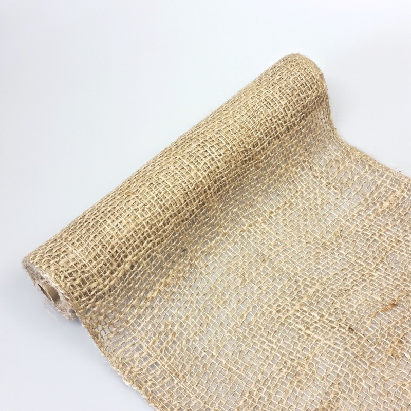 Chemin de table toile de jute larges mailles - Chemin de table en toile de jute ...