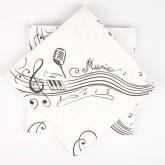 Serviettes notes de musique (x20) blanc / noir
