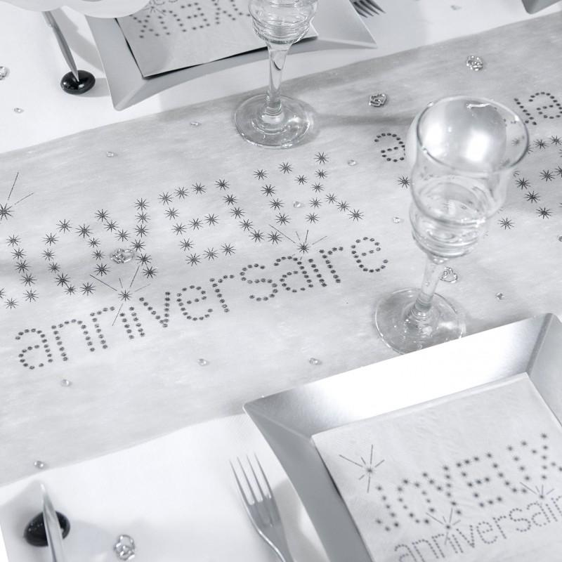 Serviettes joyeux anniversaire x20 gris - Serviette de table jetable ...