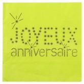 Serviettes Joyeux anniversaire (x20) vert anis