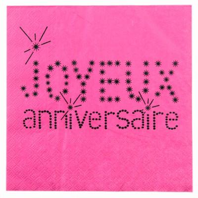 Serviettes Joyeux anniversaire (x20) fuchsia