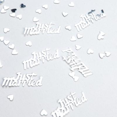 Confettis just married argentés argent