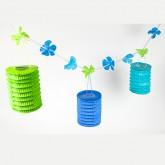 Guirlande de fleurs et lampions turquoise / vert anis
