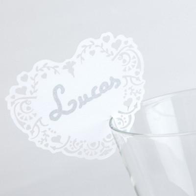 Marque-places cœurs vintage pour verres (x 10) blanc