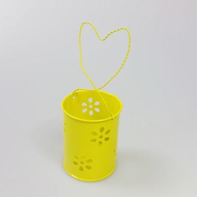 Lampion métallique à suspendre jaune