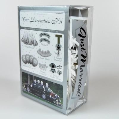 Kit de décoration voiture Just Married blanc / argent