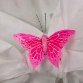 Papillons sur sticker (x6) fuchsia