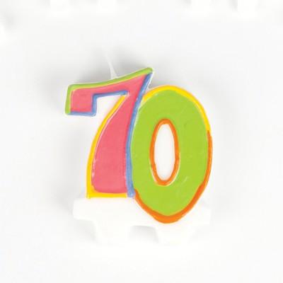 Bougie danniversaire multicolore 70