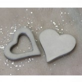 Coeurs gomme déco gris