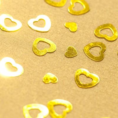 Confettis cœurs dorés or