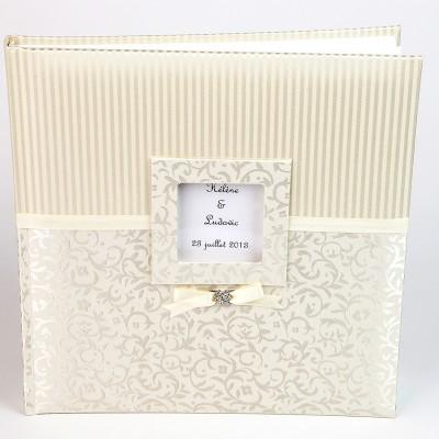 Livre d'or baroque personnalisé ivoire