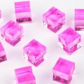 Mini cubes translucides fuchsia (x12)