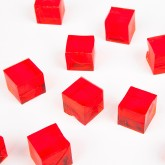 Mini cubes translucides rouge (x12)