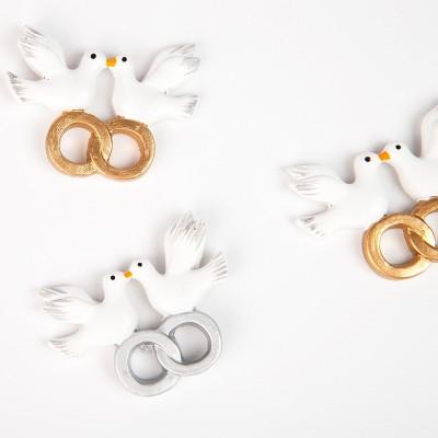 Couples de colombes sur sticker blanc / argent (x4)
