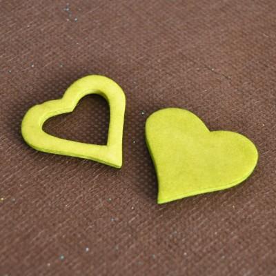 Coeurs gomme déco vert anis (x12)