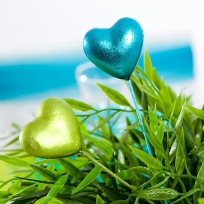Piquets cœurs irisés vert anis (x2)