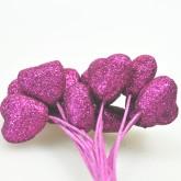 Piquets cœur pailletés fuchsia (x12)
