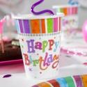 Gobelets Happy Birthday multicolore (x8)