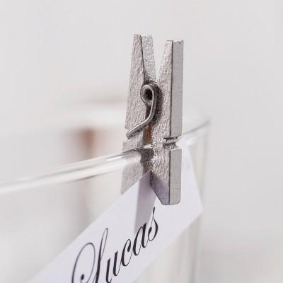 Mini pinces en bois peint argent (x24)
