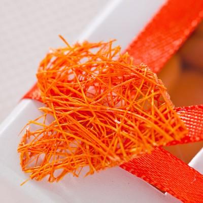 Coeurs sisal autocollants orange (x8)