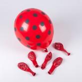 Ballons rouges à pois gris (x6)