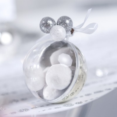 Petites boules argent pailletées sur tiges (x24)