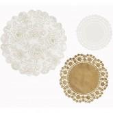 Kit de napperons blancs et dorés (x24)