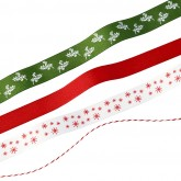 Ficelle et rubans aux motifs de Noël (x4)