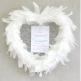 Coeur plumes à suspendre blanc