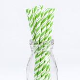 Pailles rayées de couleur verte (x 24)