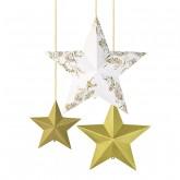 Kit de 3 étoiles 3D or