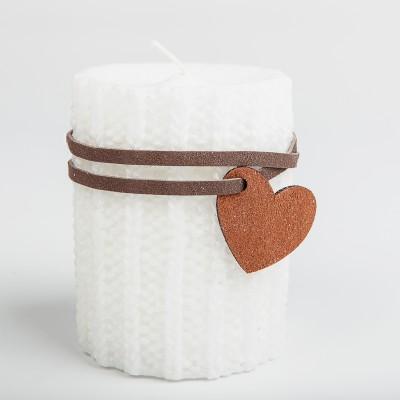 Bougie laine blanche et son pendentif coeur