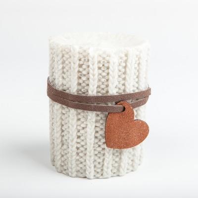 Bougie laine grise et son pendentif coeur