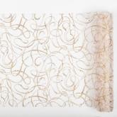 Chemin de table motifs ondulés pailletés blanc or