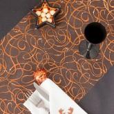 Chemin de table motifs ondulés pailletés cuivre