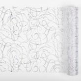 Chemin de table motifs ondulés pailletés blanc argent 28 cm