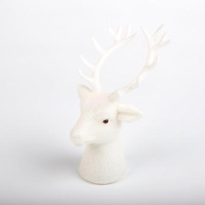 Tête de renne pailletée blanche