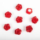 Boutons de roses pailletés rouge (x8)