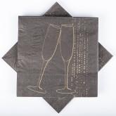 Serviettes noires et or flûtes de champagne (x20)