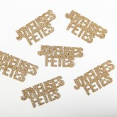 """Confettis pailletés """"Joyeuses Fêtes"""" or  (x6)"""