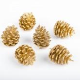 Pommes de pin pailletées or (x6)