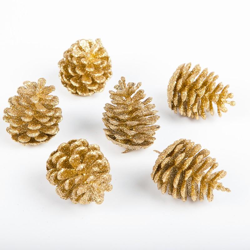 Pommes de pin paillet es or x6 - Decoration de noel avec des pommes de pin ...