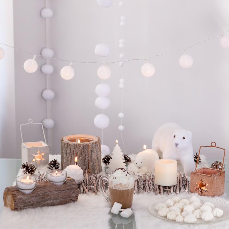 Centre de table photophore b che - Decoration de table avec bougies ...