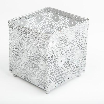 Photophore carré argent dentelle
