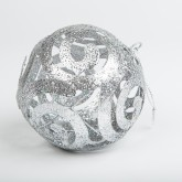 Boule déco pailletée argent et ses arabesques