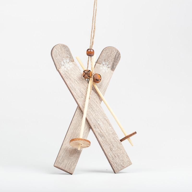 Grande paire de skis d corative en bois - Decoratie en bois ...