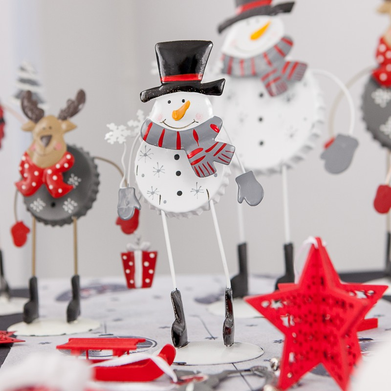 Petit bonhomme de neige rigolo en m tal - Decoration de noel bonhomme de neige ...