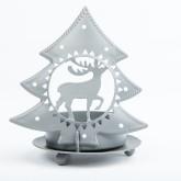Photophore sapin gris métal