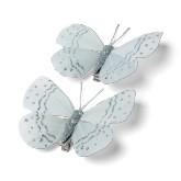 Papillons gris et argentés sur pince (x2)